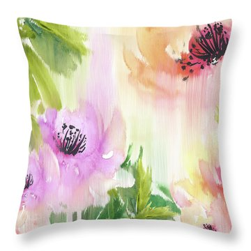 Throw Pillow featuring the painting Weeping Rose Forest by Colleen Taylor