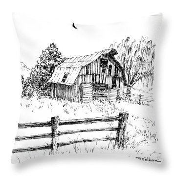 Weeping Willow And Barn One Throw Pillow