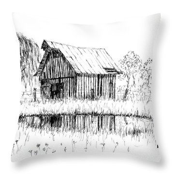 Weeping Willow And Barn Two Throw Pillow