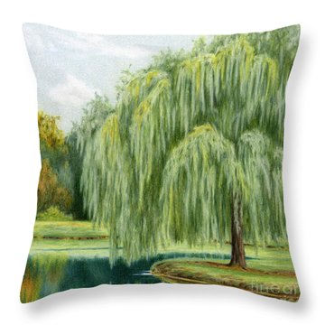 Under The Willow Tree Throw Pillow