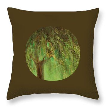 Weeping Willow Throw Pillow by Mary Wolf