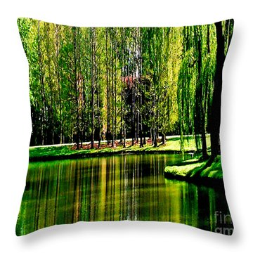 Weeping Willow Tree Reflective Moments Throw Pillow by Carol F Austin