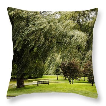 Weeping Willow Trees On Windy Day Throw Pillow by Carol F Austin