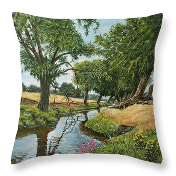 Weeping Willows At Beverley Brook Throw Pillow
