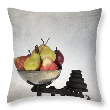 Weighing Pears Throw Pillow by Jane Rix