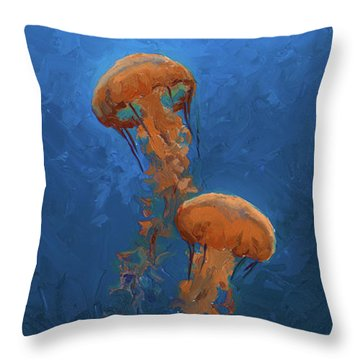 Throw Pillow featuring the painting Weightless - Pacific Nettle Jellyfish Study  by Karen Whitworth