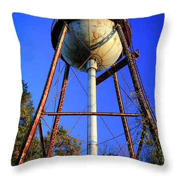 Throw Pillow featuring the photograph Weighty Water Cotton Mill  Water Tower Art by Reid Callaway