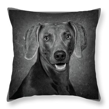 Weimaraner In Black And White Throw Pillow by Greg Mimbs