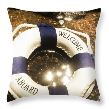 Welcome Aboard Nautical Paradise Throw Pillow