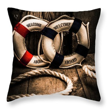 Welcome Aboard The Dark Cruise Line Throw Pillow