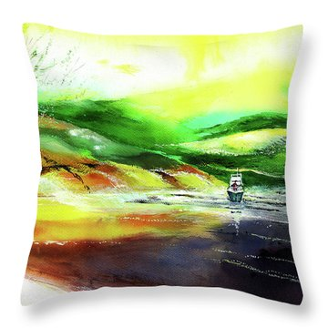 Throw Pillow featuring the painting Welcome Back by Anil Nene