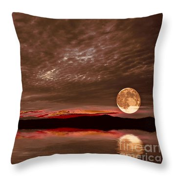 Welcome Beach Supermoon Throw Pillow