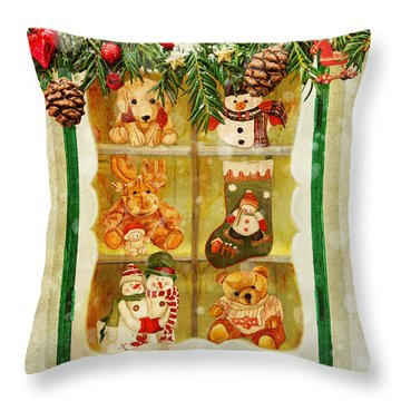 Throw Pillow featuring the painting Welcome Christmas by Angeles M Pomata
