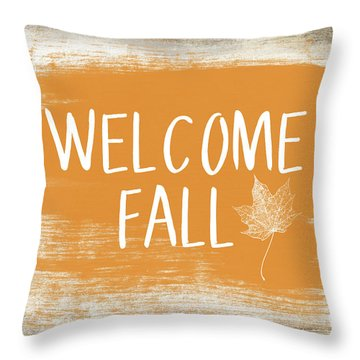 Welcome Fall Sign- Art By Linda Woods Throw Pillow