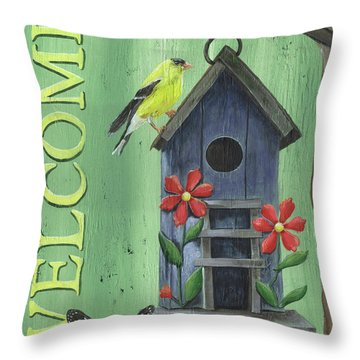 Welcome Goldfinch Throw Pillow