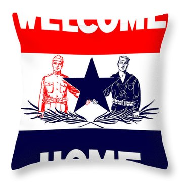 Vintage Welcome Home Military Sign Throw Pillow