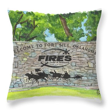Throw Pillow featuring the painting Welcome Sign Fort Sill by Betsy Hackett