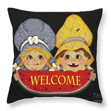 Welcome Sign - Watermelon Kids Throw Pillow