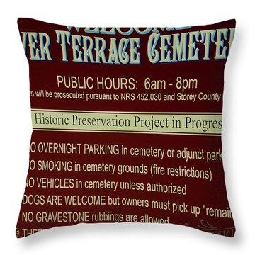 Welcome Silver Terrace Cemeteries Throw Pillow by LeeAnn McLaneGoetz McLaneGoetzStudioLLCcom