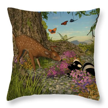 Welcome Spring Throw Pillow by Methune Hively