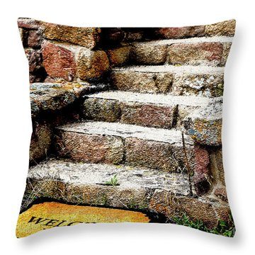 Welcome Steps Throw Pillow by Deborah Nakano