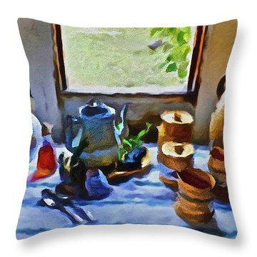 Throw Pillow featuring the painting Welcome Table by Joan Reese