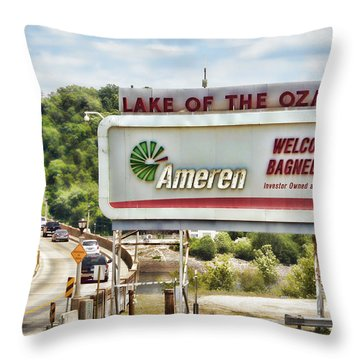 Welcome To Bagnell Dam Throw Pillow