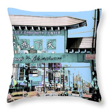 Welcome To Chinatown Sign Blue Throw Pillow by Marianne Dow