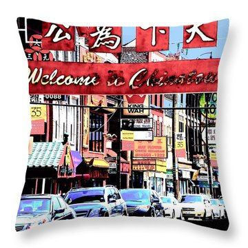 Throw Pillow featuring the photograph Welcome To Chinatown Sign Red by Marianne Dow