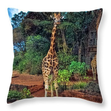 Welcome To Giraffe Manor Throw Pillow by Karen Lewis