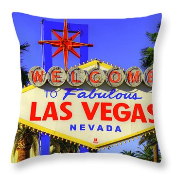 Welcome To Las Vegas Throw Pillow by Anthony Sacco