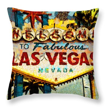 Throw Pillow featuring the photograph Welcome To Las Vegas Nevada Whatever Happens Here Stays Here 20180518 by Wingsdomain Art and Photography