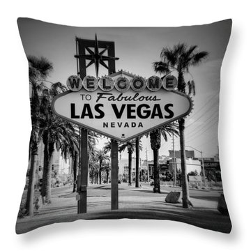 Welcome To Las Vegas Series Holga Black And White Throw Pillow