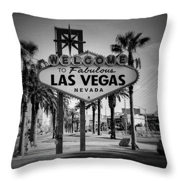 Welcome To Las Vegas Series Holga Black And White Throw Pillow
