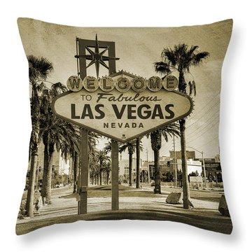 Welcome To Las Vegas Series Sepia Grunge Throw Pillow