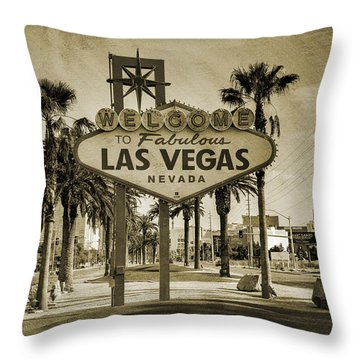 Welcome To Las Vegas Series Sepia Grunge Throw Pillow