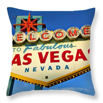 Welcome To Las Vegas Sign Throw Pillow by Garry Gay