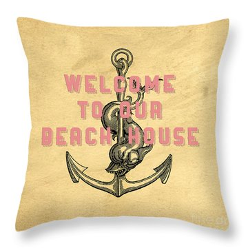 Throw Pillow featuring the digital art Welcome To Our Beach House by Edward Fielding