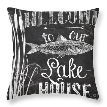 Welcome To Our Lake House Sign Throw Pillow
