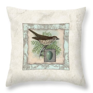 Welcome To Our Nest - Vintage Bird W Egg Throw Pillow by Audrey Jeanne Roberts