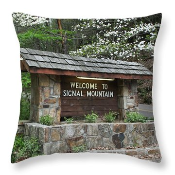 Welcome To Signal Mountain Spring Throw Pillow