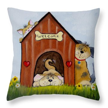 Welcome To The Doghouse Throw Pillow