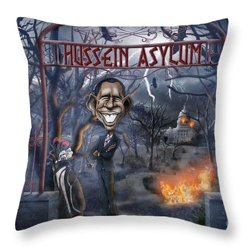 Welcome To The Hussein Asylum Throw Pillow by Don Olea