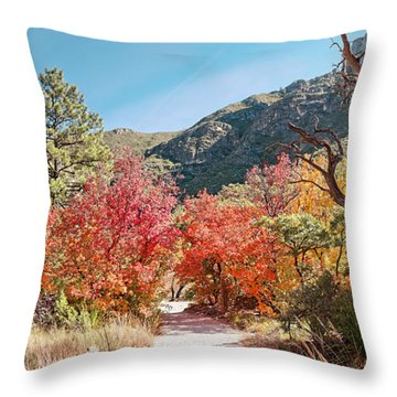 Welcome To The Trapp Family Lodge At Mckittrick Canyon - Guadalupe Mountains National Park - Texas Throw Pillow