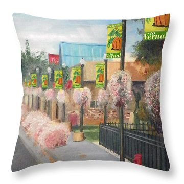 Welcome To Vernal Throw Pillow by Sherril Porter