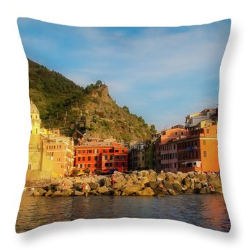Welcome To Vernazza Throw Pillow
