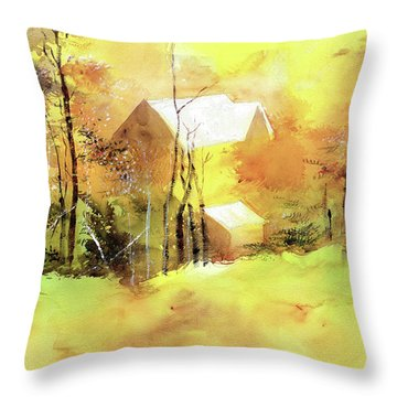 Throw Pillow featuring the painting Welcome Winter by Anil Nene
