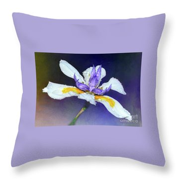 Throw Pillow featuring the photograph Welcoming Iris By Kaye Menner by Kaye Menner