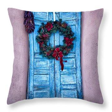 Well Worn Blue Throw Pillow