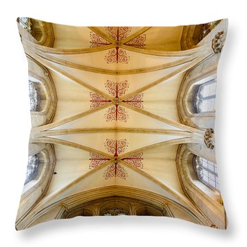 Throw Pillow featuring the photograph Wells Cathedral Ceiling by Colin Rayner